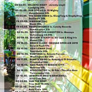 Jamburg – Reggae, Dancehall und Dub im Mai Es wird wärmer und entsprechend auch voller in Sachen Events. Ein Blick auf den aktuellen Jamburg Monats-Flyer zeigt die Vielfalt der Szene...