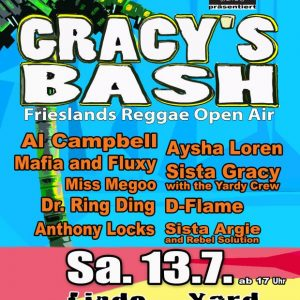Gracy's Bash 2019 Auch in diesem Jahr wird die Besucher ein feines Lineup in Varel empfangen. In diesem Jahr stehen Al Campbell, Mafia and Fluxy, Dr. Ring Ding, Anthony Locks,...