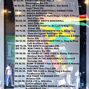 Jamburg – Reggae, Dancehall, Dub & Ska im Oktober Ein Blick auf den Flyer verrät einiges! So voll war er in der Vergangenheit sehr selten. Das spricht für eine lebhafte...