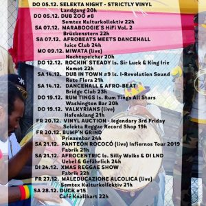 Jamburg im Dezember Auch im letzten Monat in diesem Jahre geht es in Sachen Reggae, Dancehall, Dub & Ska mächtig bunt zu an der Elbe. Miwata kommt am 9.12. in...